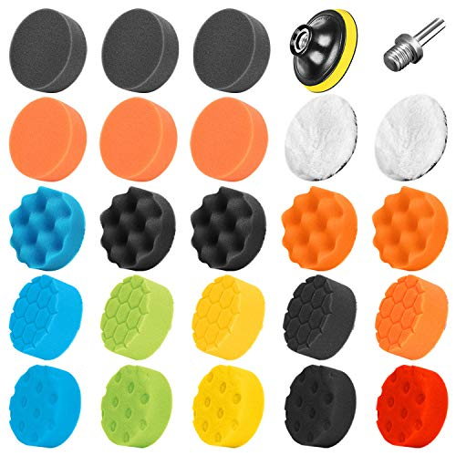 SPTA Car Sponge Polishing pads, 25Pcs Polishing Pads Set, 3 Inch 80mm Car Buffing Pads and Wool Polishing Pads with M14 Drill Adapter for Car Polisher and Electric Drill