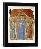 Kunst für Alle '–Fotografía enmarcada de Piero Della Francesca Madonna del Parto, de impresión handgefertigten imágenes de Marco, 30x 30cm, Color Negro Mate