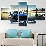 Cuadros decoracion dormitorios Pista de carreras GT Super Car-200x100 CM Cuadros Modernos Impresión de Imagen Artística Digitalizada Lienzo Decorativo Para Salón o Dormitorio 5 Piezas