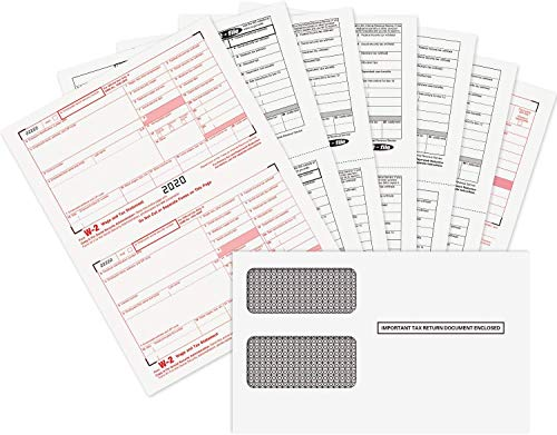 Complete Laser W-2 Forms for 2019/ W-3 Transmittal   Comprehensive Tax Kit for 10 Employees (6-Part)   Tax Form Package w/Self-Seal Envelopes