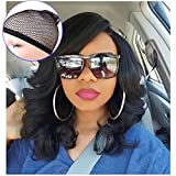 Lady Miranda Loose Wave Lace Part Wig Pure Color Nature Curly Synthetic Heat Resistant Weave Full Wigs for Women(Black)