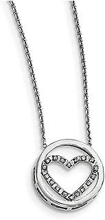 "Lex & Lu Sterling Silver Diamond Mystique Circle w/Heart 17"" Necklace LAL108636"