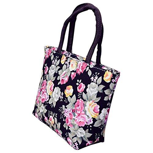 meizu88 Damen Handtasche mit Rosenmotiv, aus Leinen, klein, mit Reißverschluss, Einkaufstasche, Schultertasche Gr. Normal , Schwarz