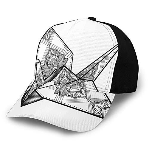 Gorra de béisbol unisex con borde curvo estilo origami, diseño de pájaros, dibujado a mano, monocromo Oriente, asiático, folclore de poliéster, tela de sarga de papá, gorra de béisbol