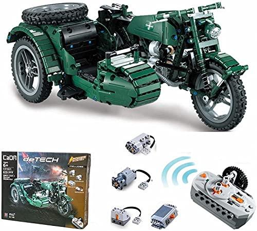 Kit de Bloques de Construcción de Motocicleta Technic, Modelo de Motocicleta Militar Technic WW2 con Control Remoto 2.4G Y Motores-600 PCS