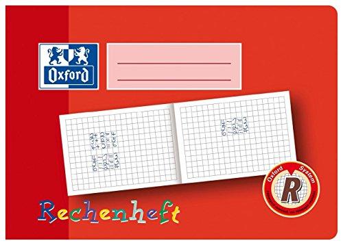 Oxford Schule Rechenheft A5 quer, Lineatur R (1. Klasse), 16 Blatt, rot, 10er Pack
