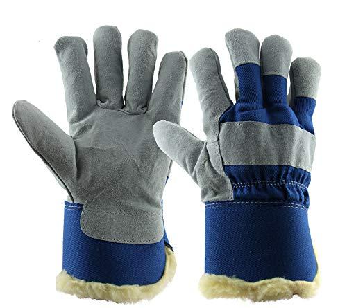 En'S lederen koude handschoenen, warm en lage temperatuur antivries koude opslag arbeid verzekering behandeling outdoor paardrijden verdikking plus fluwelen handschoenen/blauw