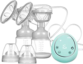 Double Electric Breast Pump, Hospital Grade Pain Free Breast Pump Rechargeable 3 Modes 9 Strong Suction Levels Brest Feeding Pump Great Massage Mode for Mom's Comfort (Green)
