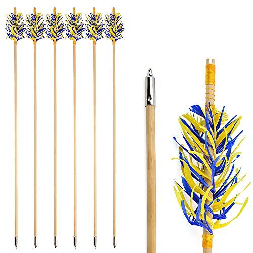 ZSHJGJR 31 Pulgadas Flecha de Madera de Tiro con Arco Flechas de Caza Tradicional Flechas de Eje de Madera para práctica con Plumas Naturales, para Arco Recurvo Longbow (Azul+Amarillo, 12pcs)
