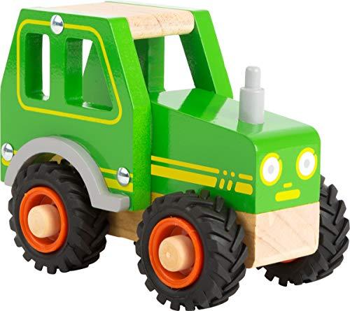 small foot 11078 Einsatzfahrzeug Traktor aus Holz, mit Fahrerhaus und gummierten Rädern, ab 18 Monaten Spielzeug, Grün