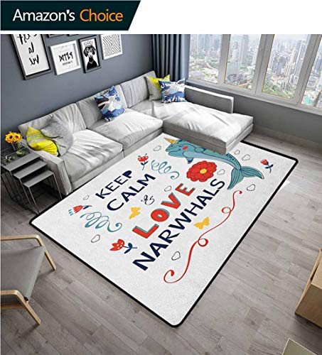Lowest Price! Narwhal Bordered Area Rugs, Pop Culture Phrase with Unicorn of the Ocean Design Colorf...