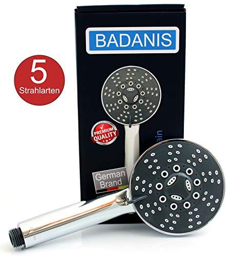Duschkopf - BADANIS Handbrause wassersparend (10,5 ltr./Min. 5 Strahlarten ⌀ 105 mm) Duschbrause mit Antikalk Silikonnoppen, Handdusche für kalkhaltiges Wasser, Brausekopf, low pressure shower head
