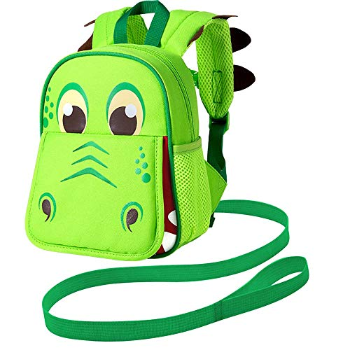 "Leash Backpack, 9.5"" Toddler Dinosaur Bag - Harness Safety with Removable Tether"