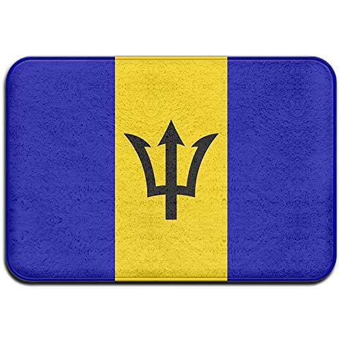 N/A Barbados Flagge Outdoor Gummimatte Haustürmatten Veranda Garage Large Flow Slip Eingang Teppich Standard Teppich Home