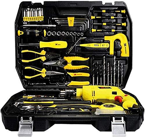 GSAGJsf Kit de Herramientas de Mano + Juego de Dados 108Pc, Combo Heavy Duty Almacenamiento Fundas Hardware Repair Tool Box Set Inicio Carpintería Electricista con el Taladro de Impacto