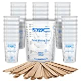 TCP Global 20 Ounce (600ml) Disposable Flexible Clear Graduated Plastic Mixing Cups - Box of 100 Cups & 50 Mixing Sticks - Use for Paint, Resin, Epoxy, Art, Kitchen - Measuring Ratios 2-1, 3-1, 4-1 ML
