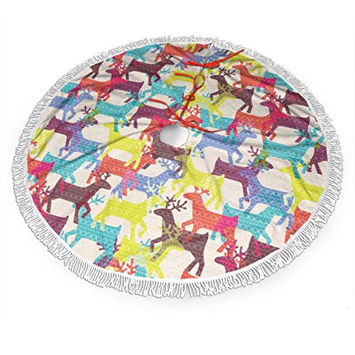 Nafanio Deers Pattern Christmas Tree Skirt 30 Inches Sturdy Polyester Fabric Tree Skirt Decorative Handicraft for Christmas Party Decorations Ornament