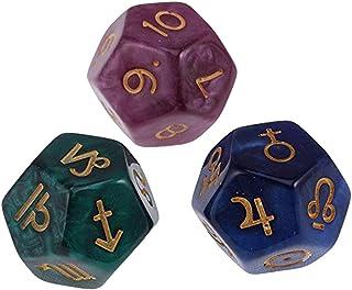 tesss 12面ダイス サイコロ 3個セット 星座占い 占星術 アクリル クトゥルフ 神話 ボードゲーム カードゲーム 用 ダイス セット サイコロ