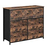 SONGMICS Industrial Wide Dresser, Storage Tower, Rustic Chest of Drawers with 7 Fabric Drawers, Metal Frame, Wooden Top and Front, Rustic Brown and Black ULGS037B01