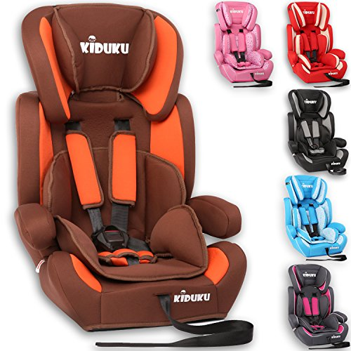 KIDUKU® Kindersitz 9-36 kg (1-12 Jahre) - Autositz ECE R44/04, Gruppe 1/2/3 Autokindersitz Kinderautositz, Braun/Orange