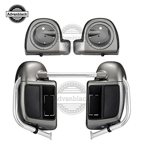 Moto Onfire Billet Silver, Rushmore Lower Vented Fairings, 6.5 inch Speaker Pods Fit for Harley Touring, Road King Special, Electra Glide, Ultra Classic, Road Glide Ultra 2017