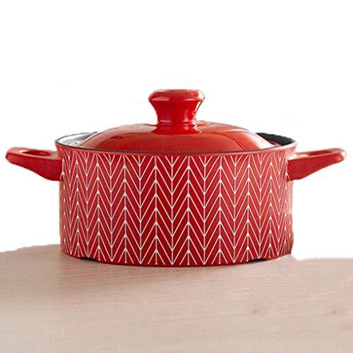 MYYINGBIN 20 cm Marokkanischer Tajine-Topf HochtemperaturbestäNdiger Keramik-Auflauf-Suppentopf Geeignet FüR Ofen-Mikrowellen-Gas-Gasherd Elektrischer Keramik-Ofen, Red