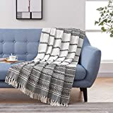 MOTINI 100% Cotton Decorative Blankets Cozy Black and White Throw Blankets Hand-Knitted with Tassel for Sofa, Couch, 60 x 50 inch