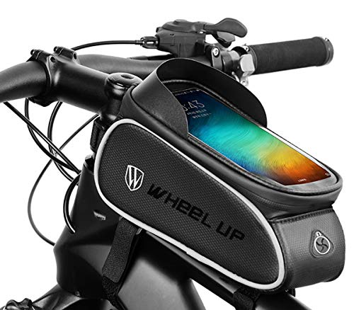 Funda para cuadro de bicicleta para teléfono de bicicleta, impermeable, con orificio para auriculares de pantalla táctil de PU, adecuado para teléfonos móviles de menos de 6,5 pulgadas (A1)