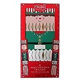 Make Your Own Christmas Crackers – Elfo, paquete de 6 – Con etiquetas, cinta de seda, sombreros, lemas y broches