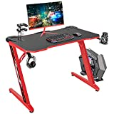 Flamaker Gaming Desk 44 Inch Gaming Table Computer Desk Gamer Table Z Shape Game Station with Large Carbon Fiber Surface, Cup Holder & Headphone (Red)