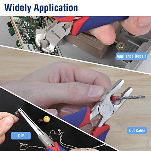 WORKPRO 6-piece Mini Pliers Set - Needle Nose, Diagonal, Long Nose, Bent Nose, End Cutting and Linesman, for Making Crafts, Repairing Electronic Devices, with Pouch