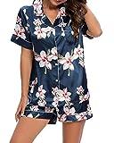 Schlafanzug Damen mit Knopfleiste Kurzarm Satin Pyjama Set Sleepwear Zweiteilige mit Knöpfen Verschluss Weich Nachtwäsche