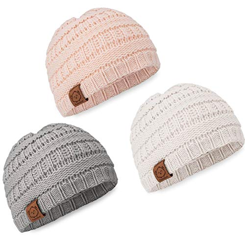 KeaBabies Baby Beanie Winter Hats - 3-Pack Soft Knitted Baby Hat Mittens (Sweet Pea)