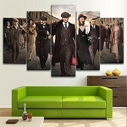 JIEJIEDE Cuadros Modernos Impresión de Imagen Artística Digitalizada | Lienzo Decorativo para Tu Salón o Dormitorio | 5 Piezas Gafas ensangrentadas Shelby/200x100CM