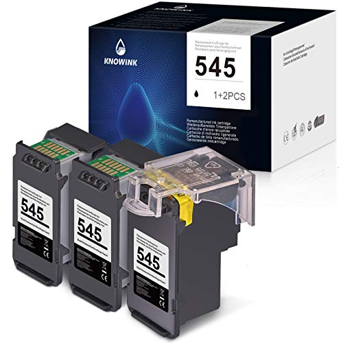 KNOWINK 545XL Cartucho de Tinta Compatible para Canon 545XL PG-545XL para Canon Pixma MX495 TS205 TS3150 MG3050 2500 2550S 2550 2450 2950s TR4550 iP2800 2850(3 Negro)