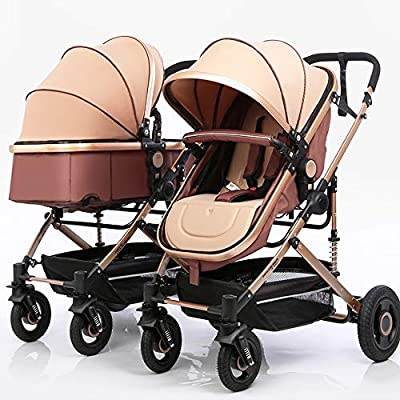 Cochecito Doble, Cochecito de Lado a Lado Ligero, Cochecito de bebé en tándem Sistemas de Viaje Toldo extendido de 3 Niveles Asientos reclinables independientemente, Pliegue fácil