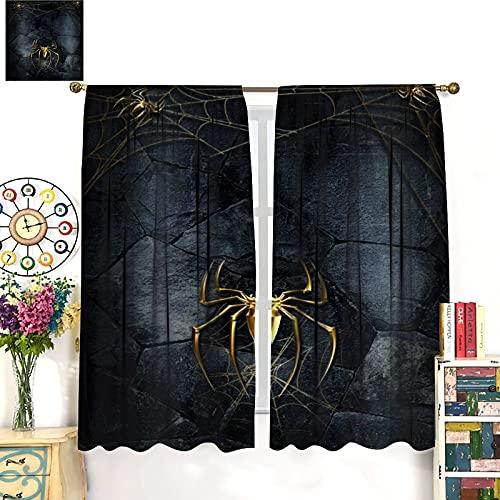 DRAGON VINES Rideaux à tringle motif Spiderman doré pour décoration de la maison ou chambre d enfant 132 x 213 cm