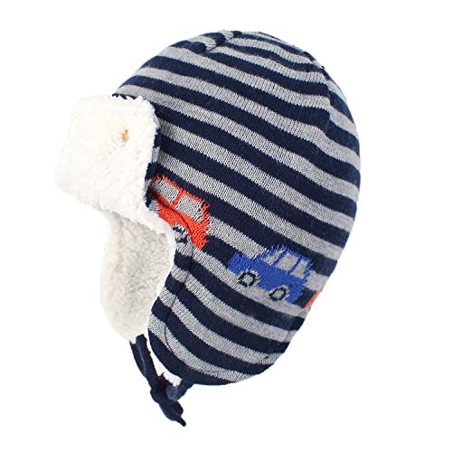 Zando Baby Beanies Infant Toddler Cute Cartoons Hat Baby Boys Earflap Caps Fall Winter Cute Car L (19.69'-20.47')suggest 2-4T