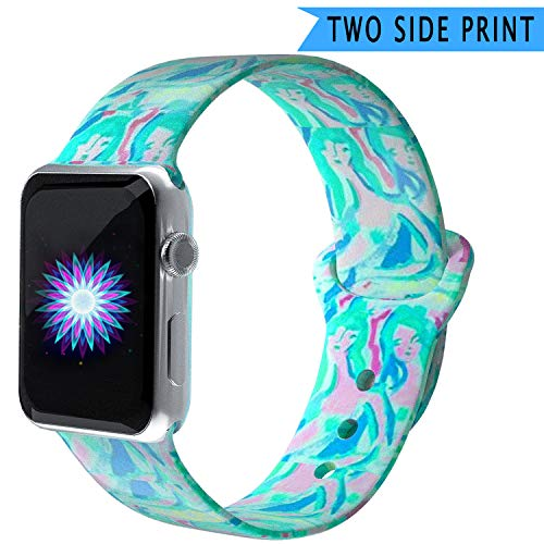 Bertiveny Silicone Band Compatible with Apple Watch Band 38mm 40mm 42mm 44mm Women Sports Strap Replacement for Iwatch Band Series 4 3 2 1 Double Side Print (Beautiful Mermaid, 38MM/40MM-S/M)