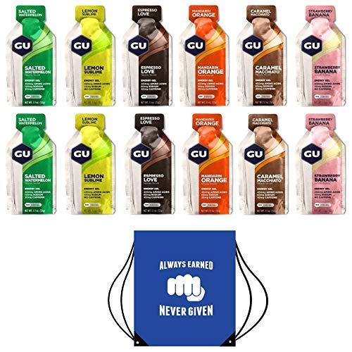 GU Energy Gels - Paquete de 24 Geles (Sabores Mixtos) - Incluye Bolsa Gratuita con Cordón y Texto Motivacional Ideal Para Zapatos o Equipo Para Correr (Paquete Mixto Alternativo)