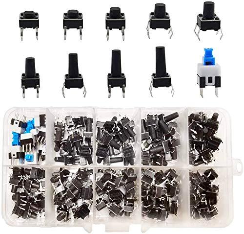 HUAYAO 200 Pezzi Tattile Interruttore di Pulsante Kit, Micro Momentaneo Tatto Assortimento, PCB Momentaneo Switch a Pulsante Tattile, 10 Valori (4 Pin, 6x6mm, 7x7mm)