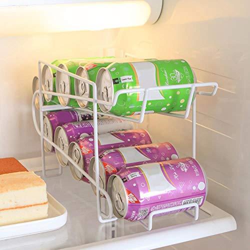 Schrank Kühlschrank Kühlschrank Lagerregal Doppelschicht Gefrierschrank Desktop Küchenregal Dose Bier Cola Wein Flaschenhalter Organizer, 1pcsx Lagerregal