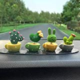 GYY Cactus Car Decoration 4Pcs Spring Shaking Head Toy Plant Flower Potted Car Interior Dashboard Accessories Center Console Decoration Cake Baking Decoration Creative Home Decoration