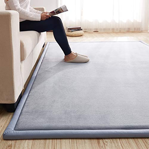 qwert Nursery Rug Coral Velvet Crawling Rugs Mat Area Rugs Play Crawling Mat for Baby Toddler Children Play Mat Yoga Mat-Gray 160x200cm/63x79inch