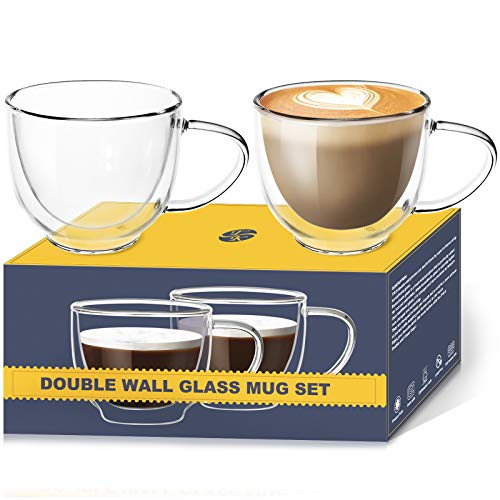 Glass Cappuccino Cups With Handle  68 Ounce Double Walled Coffee Glasses for Specialty Coffee Drinks Latte Cafe Mocha and Tea  Set of 2  Gifts