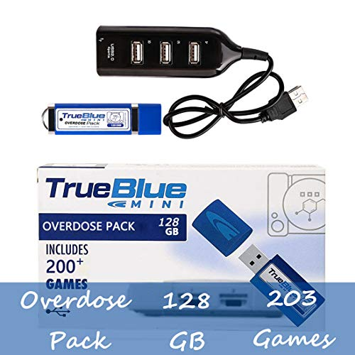 Searchyou True Blue Mini Overdose Pack con 128G 203 Juegos para Playstation Classic