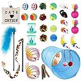 Ensemble de jouets pour chats: 33 pièces de jouets pour caht et chaton, comprenant un tunnel pour chat pliable, diverses boules, jouets de cloche à colonnes et de poisson, balles de golf avec des plumes, souris colorées, souris à fourrure monochromes...