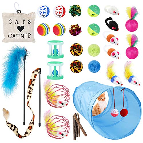 EXTSUD 33Pcs Cat Toys Kitty Toys Assorted, Cat Tunnel Catnip Fish Feather Teaser Wand Fish Fluffy Mouse Mice Balls and Bells Toys Set for Cat, Kitty, Kitten
