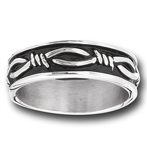 Eternity Barbed Wire Design Wedding Ring Stainless Steel Knot Band Size 8