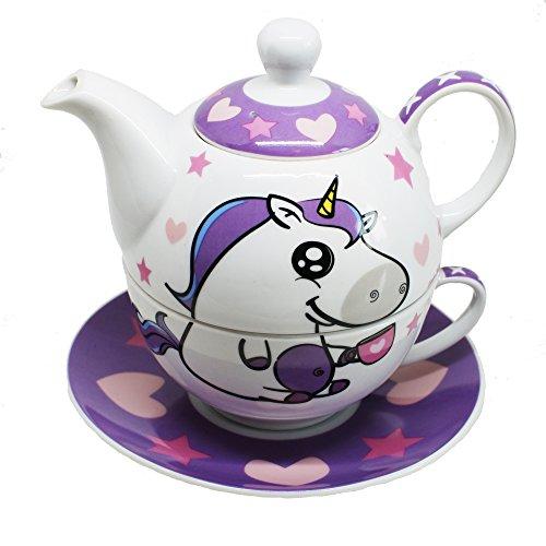 EinhornLiebe® Teekanne mit Tasse Tea for one 4-teiliges Einhorn Teeservice aus Porzellan